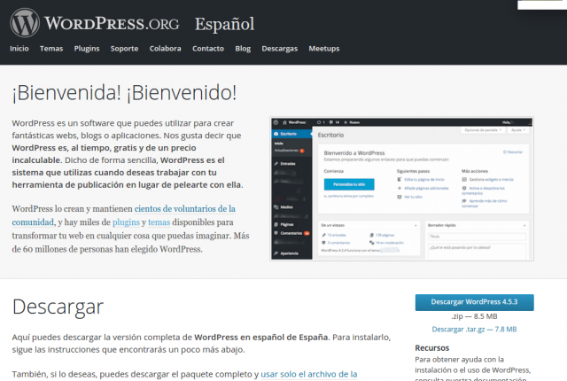 Descarga de WordPress